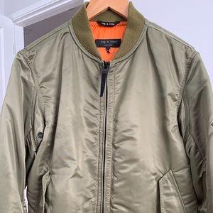Rag & Bone Army Green Nylon Bomber Jacket